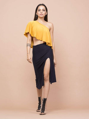 Mustard Yellow One Shoulder Crop Top