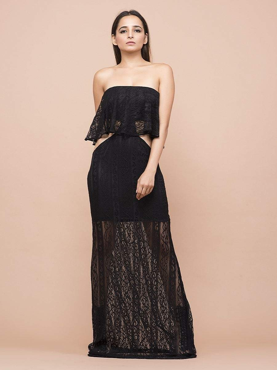 Black Lace Cut Out Tube Gown - zooomberg