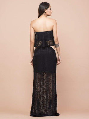 Get Black Lace Cut Out Tube Gown with RS. 2430.00