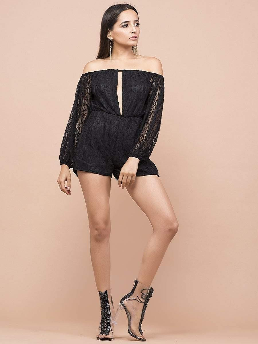 Lace Cutout Romper - zooomberg