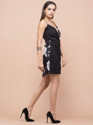 Black Half & Half Floral Lace Dress - Dresses - Zooomberg - Zoomberg