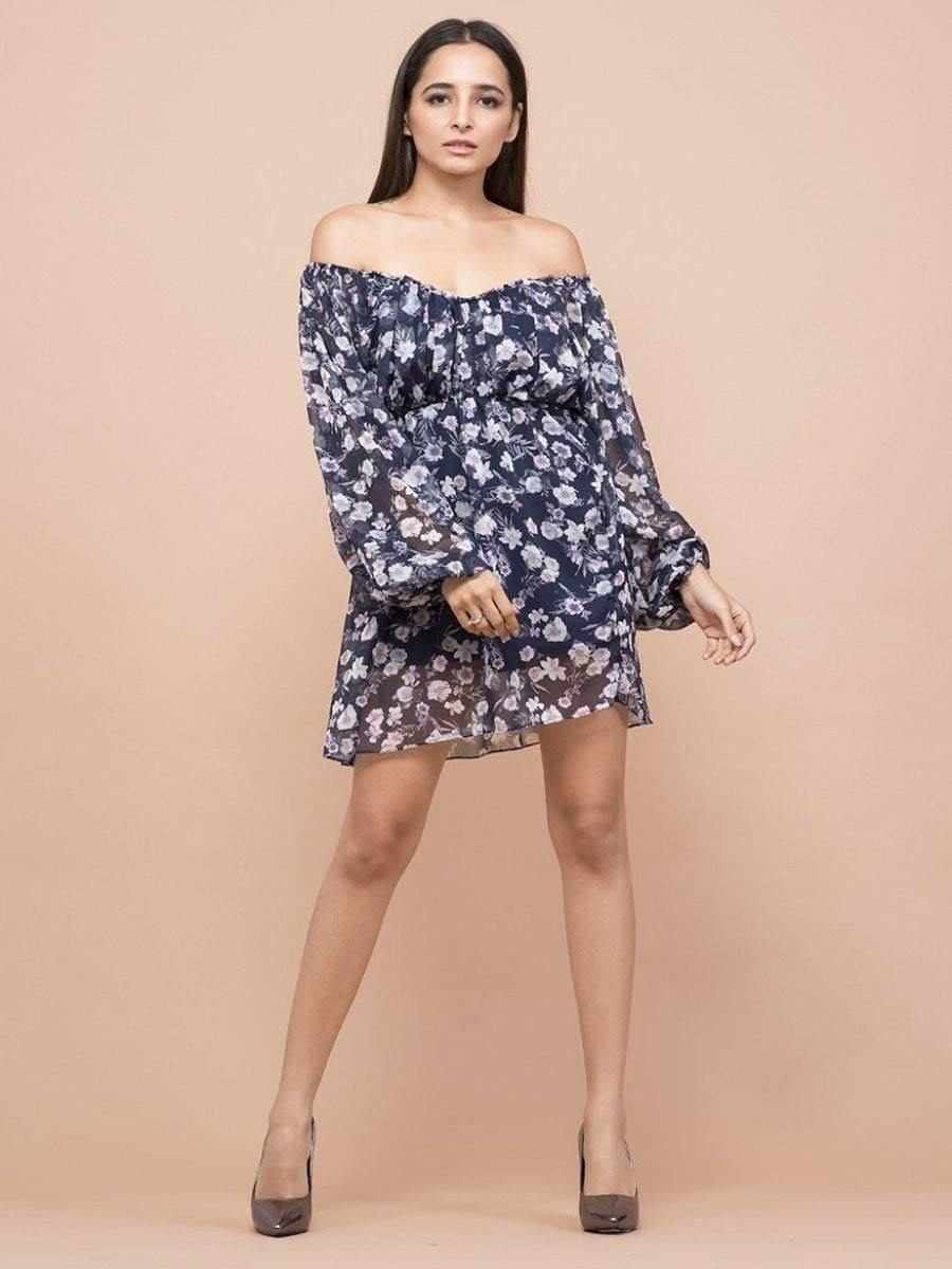 Iris Floral Print Off Shoulder Dress - zooomberg