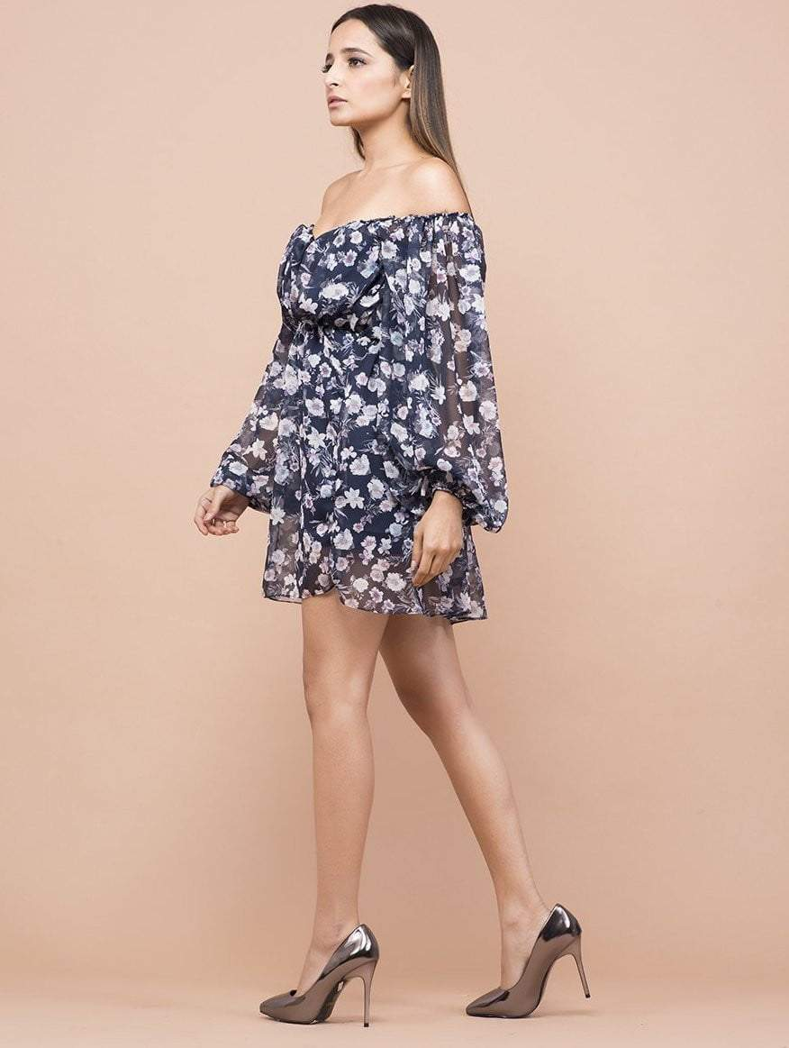 Iris Floral Print Off Shoulder Dress - Dresses - Zooomberg - Zoomberg