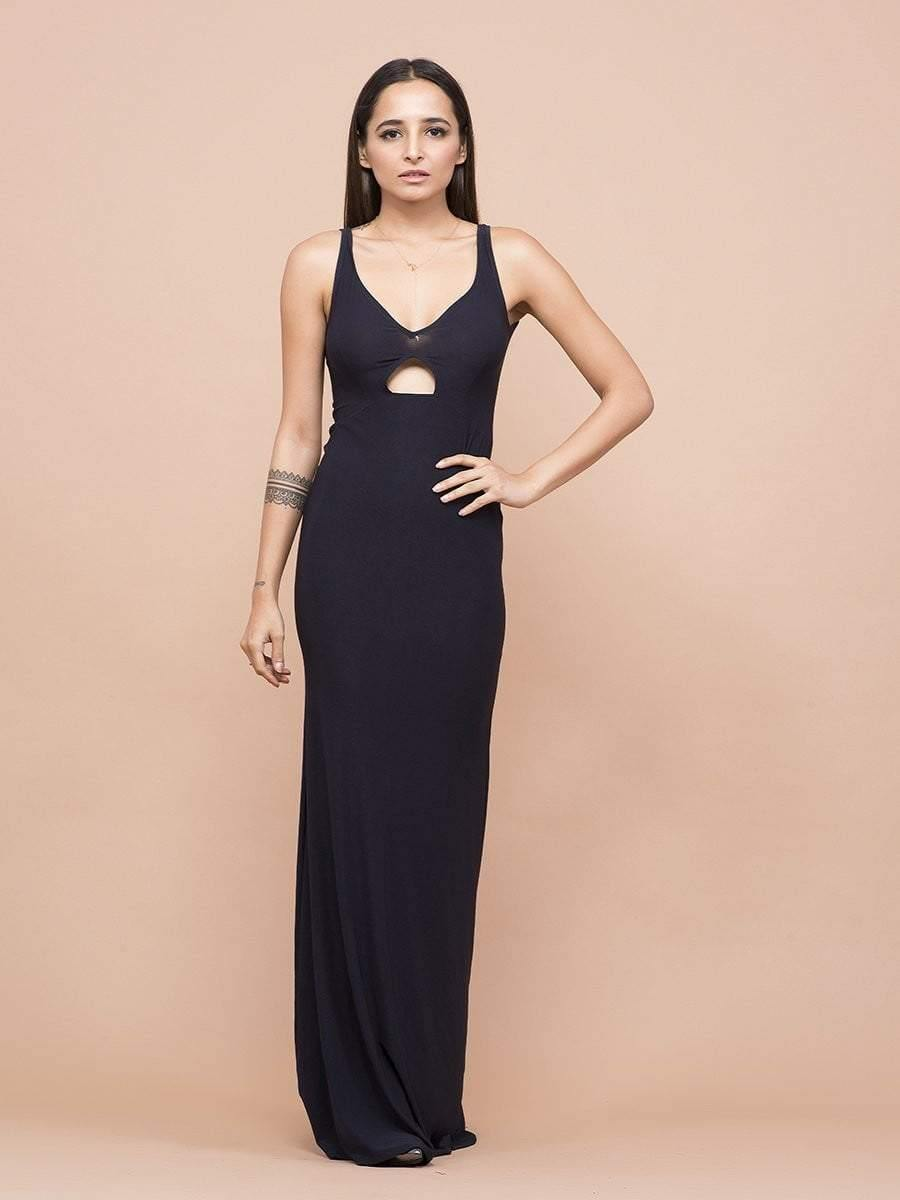 Classic Sweetheart Neck Center Cutout Gown - zooomberg