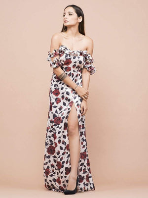 Get Off Shoulder Floral Print High Slit Dress with RS. 2010.00
