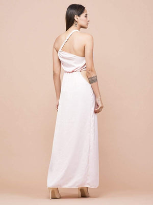 Vintage Pink One Shoulder Dress - Dresses - Zooomberg - Zoomberg
