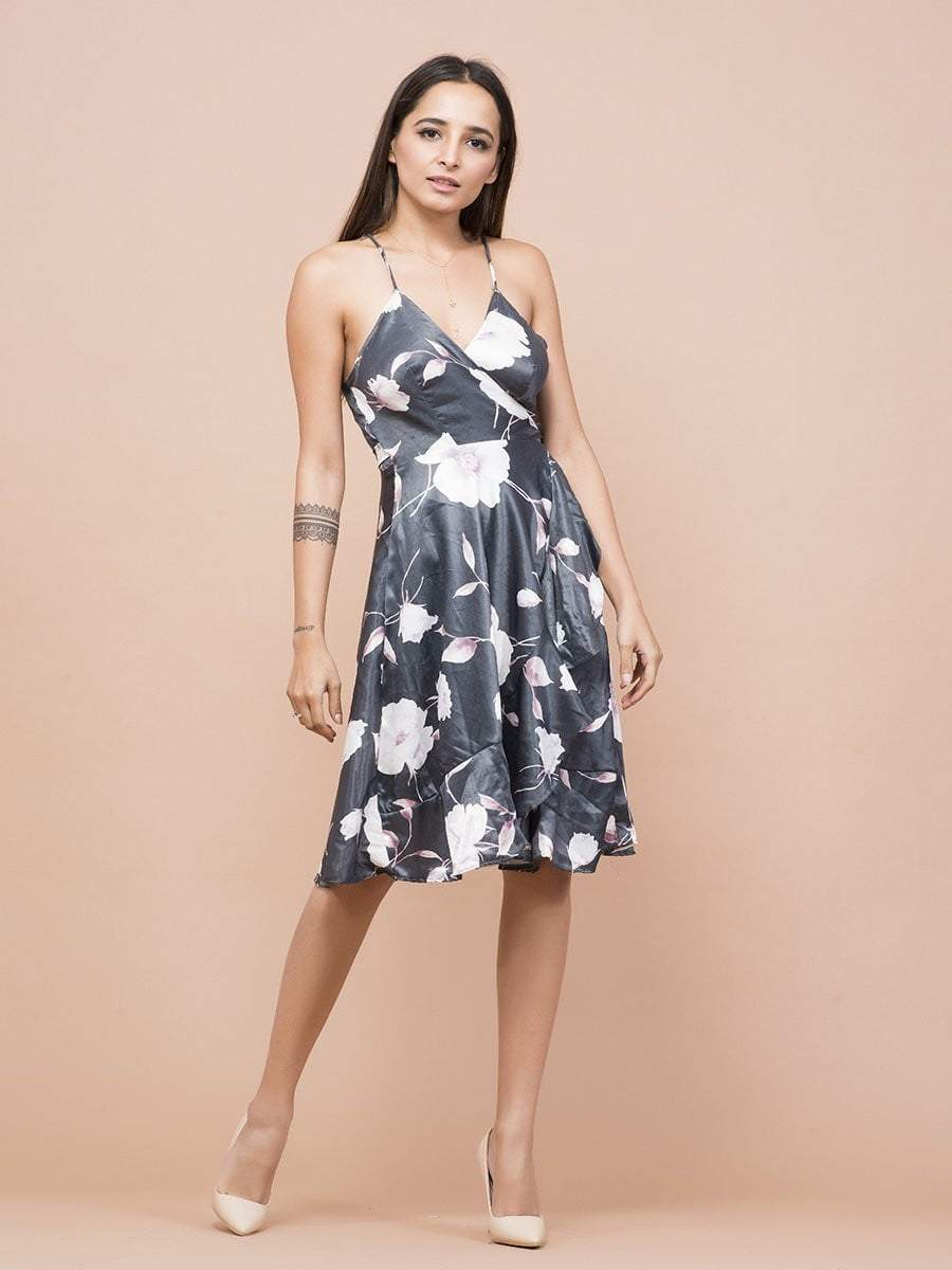 Magnolia Floral Print Wrap Dress - zooomberg