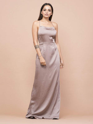 Mauve Rose Satin Dress