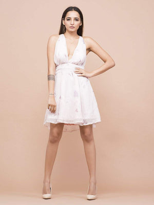 Get Blossom Plunging Neckline Dress with RS. 1254.00