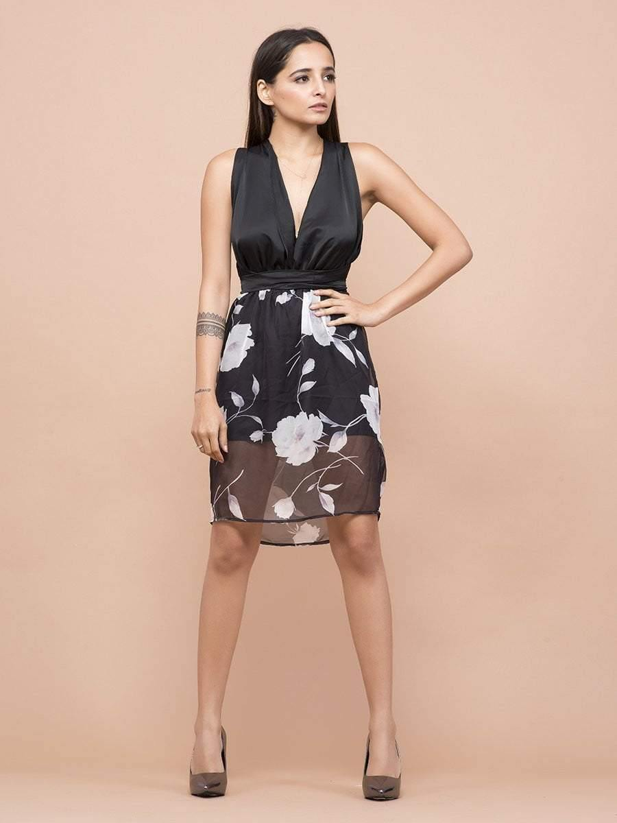 Plunge Neckline Floral Print Dress - Dresses - Zooomberg - Zoomberg