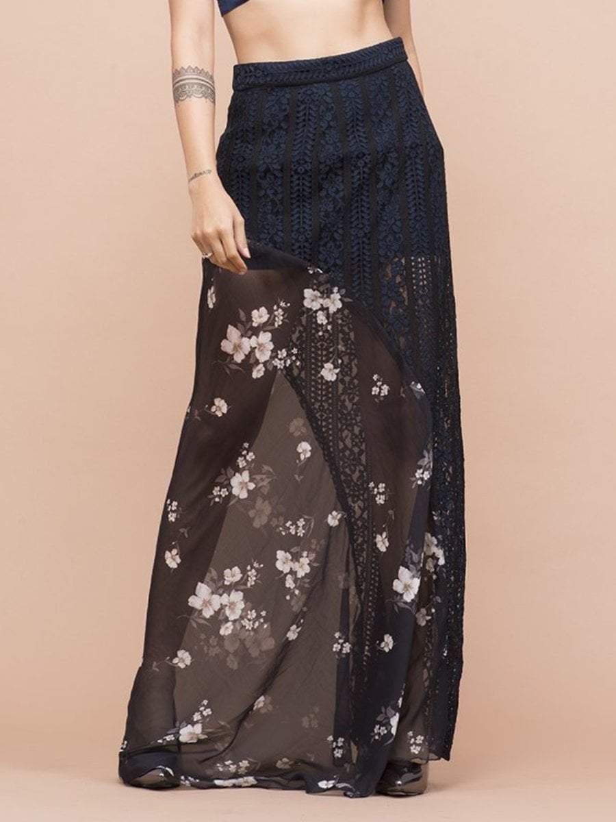 Floral Print Lace Skirt - zooomberg