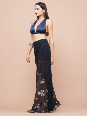 Get Plunge Neck Satin Crop Top with RS. 774.00