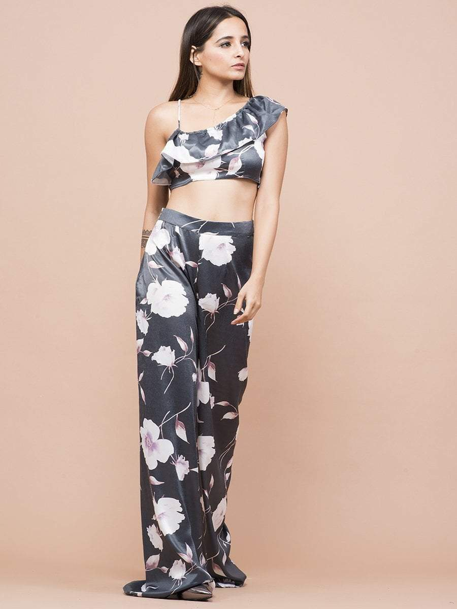 Floral Print Ruffle Top & Wide Leg Pants - zooomberg