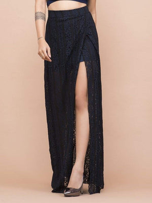 Get Black & Blue Lace High Slit Skirt with RS. 1470.00