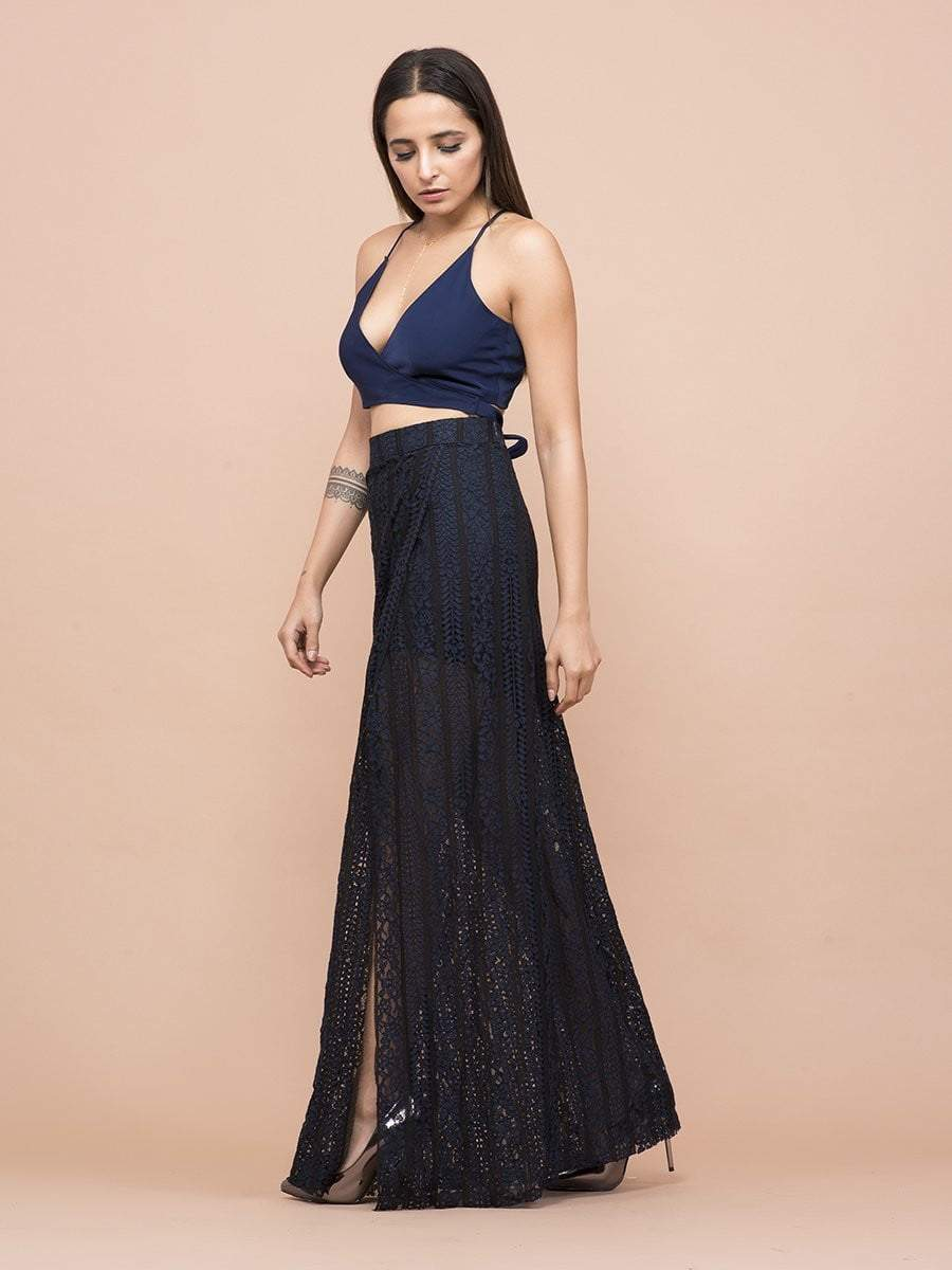 Black & Blue Lace High Slit Skirt