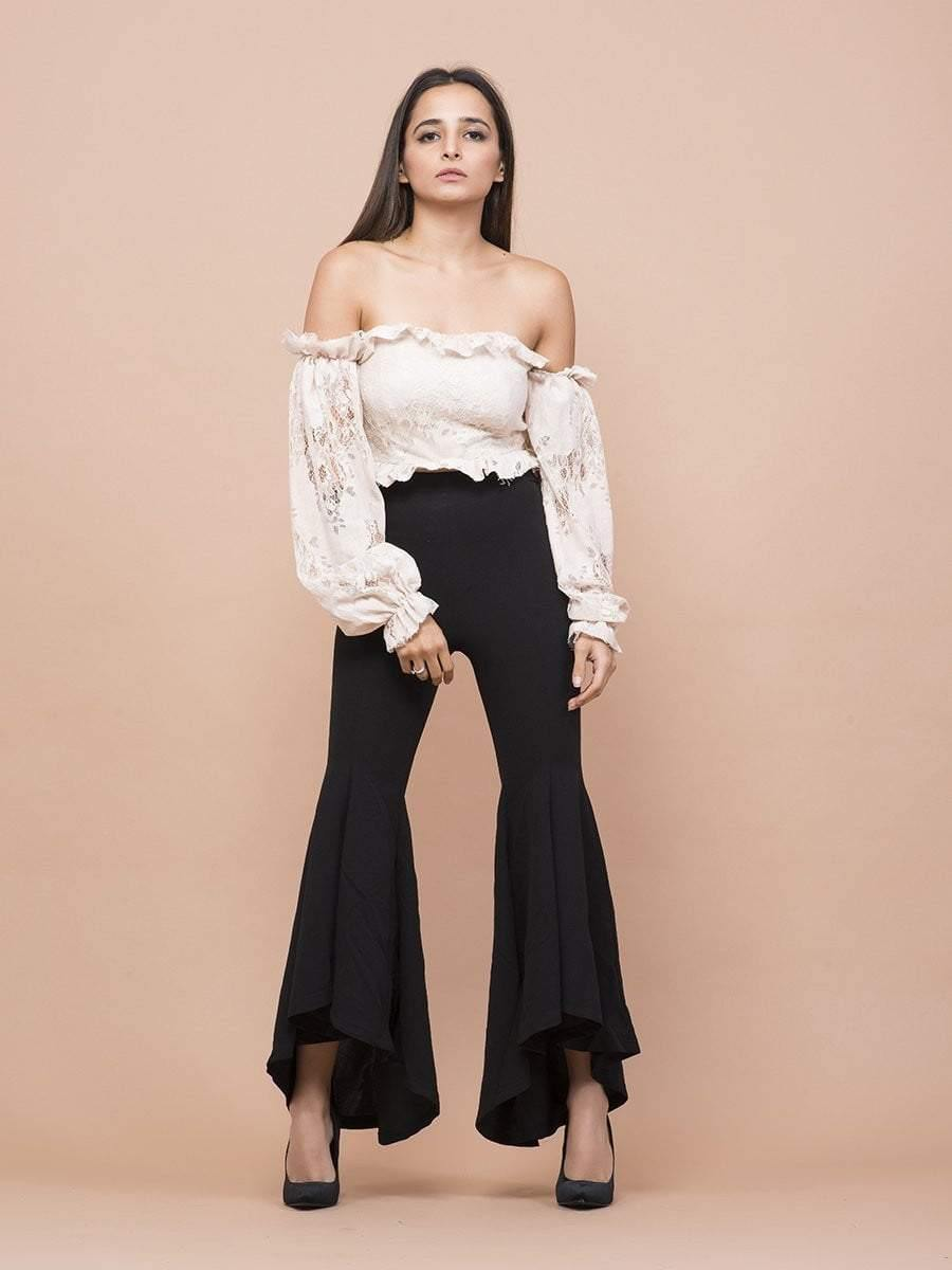 Off Shoulder Bishop Sleeve Top - zooomberg
