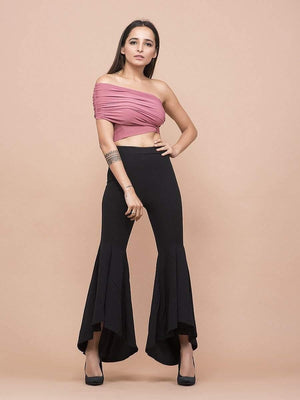 Old Rose One Shoulder Gathered Crop Top