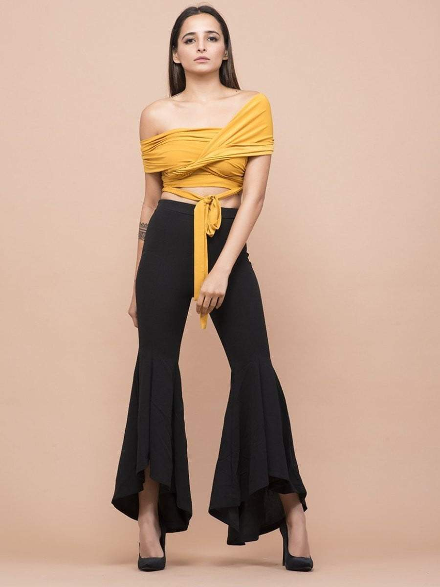 Canary Yellow Twisted Knotted Crop Top
