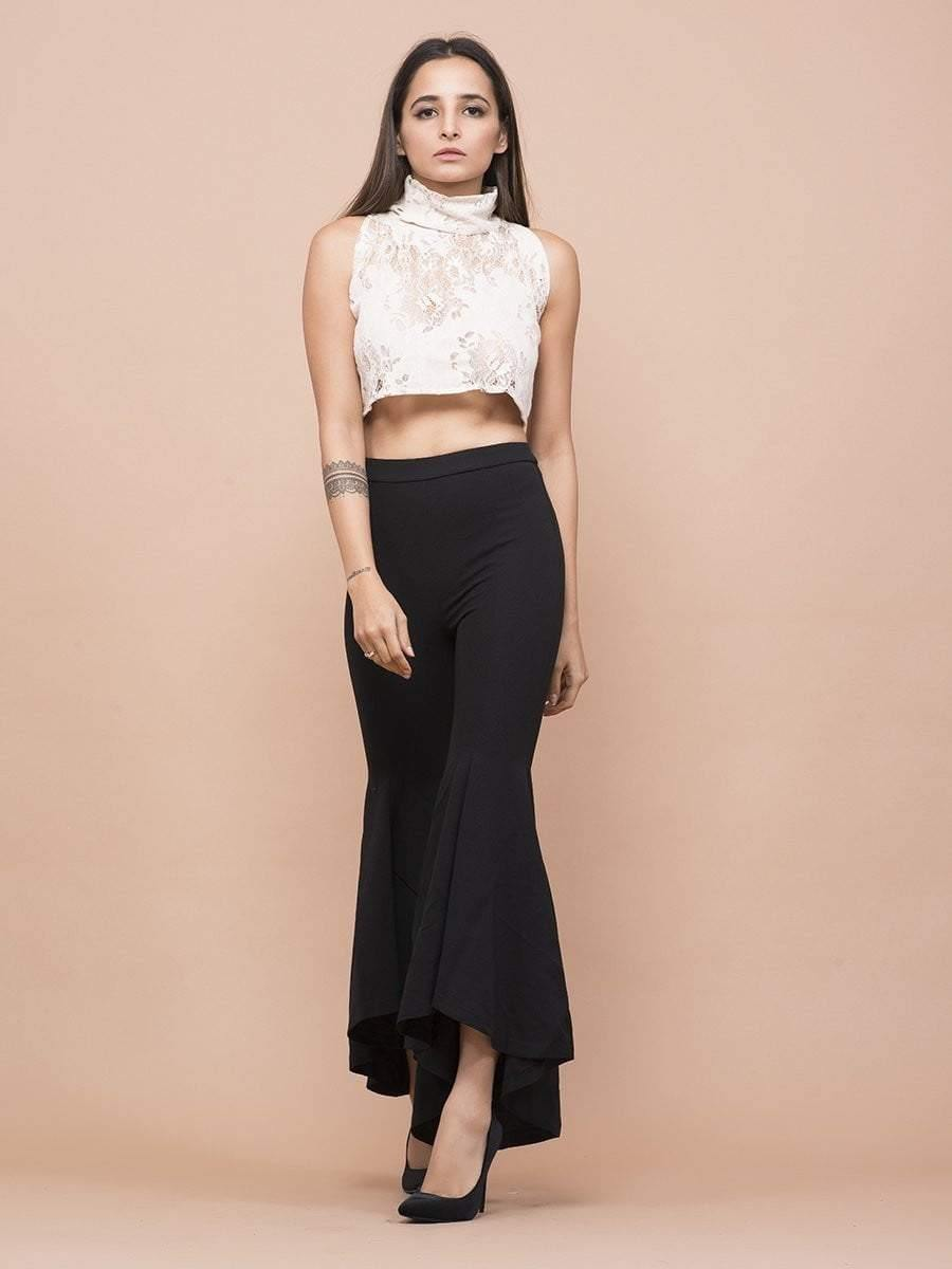 Lace Polo Neck T-Neck Crop Top - zooomberg