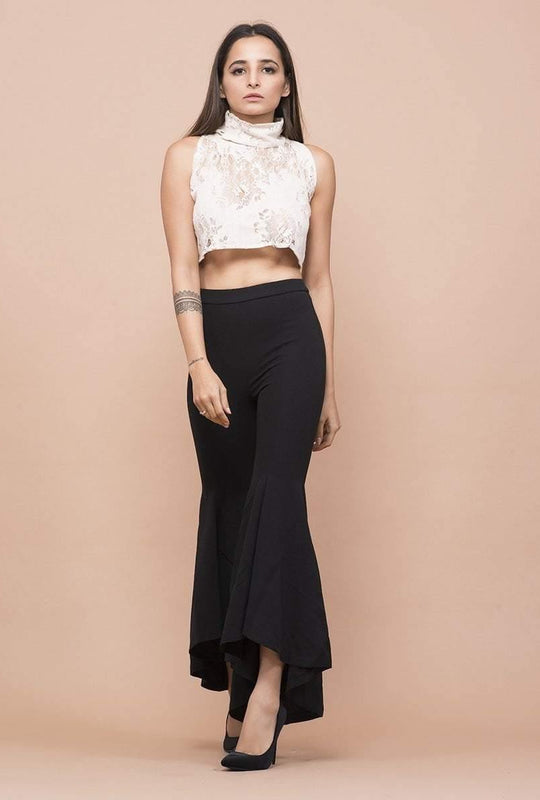 Get Lace Polo Neck T-Neck Crop Top with RS. 870.00