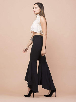 Lace Polo Neck T-Neck Crop Top - Tops - Zooomberg - Zoomberg