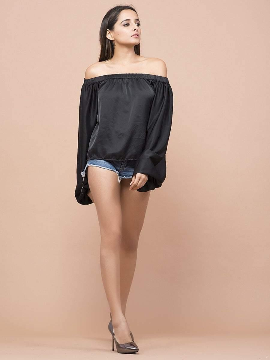 Satin Off-Shoulder Bishop Sleeve Top