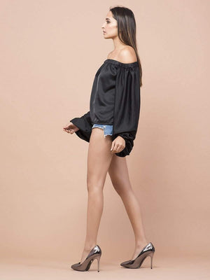Satin Off-Shoulder Bishop Sleeve Top - Tops - Zooomberg - Zoomberg