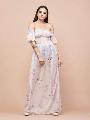 Get Soft Nude Floral Print Sheer Off-Shoulder Dress with RS. 1890.00