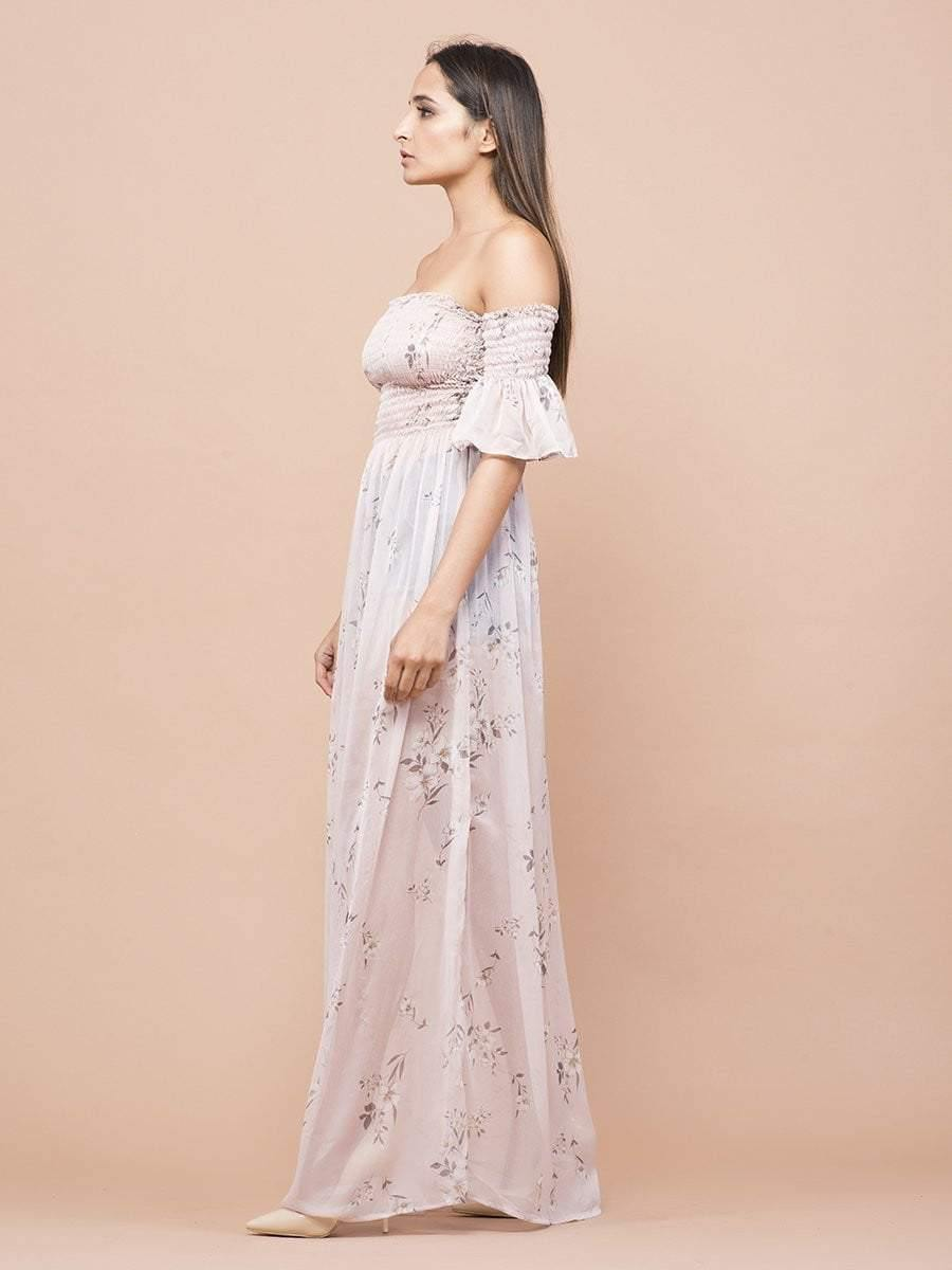 Soft Nude Floral Print Sheer Off-Shoulder Dress