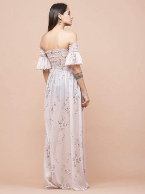 Soft Nude Floral Print Sheer Off-Shoulder Dress - Dresses - Zooomberg - Zoomberg