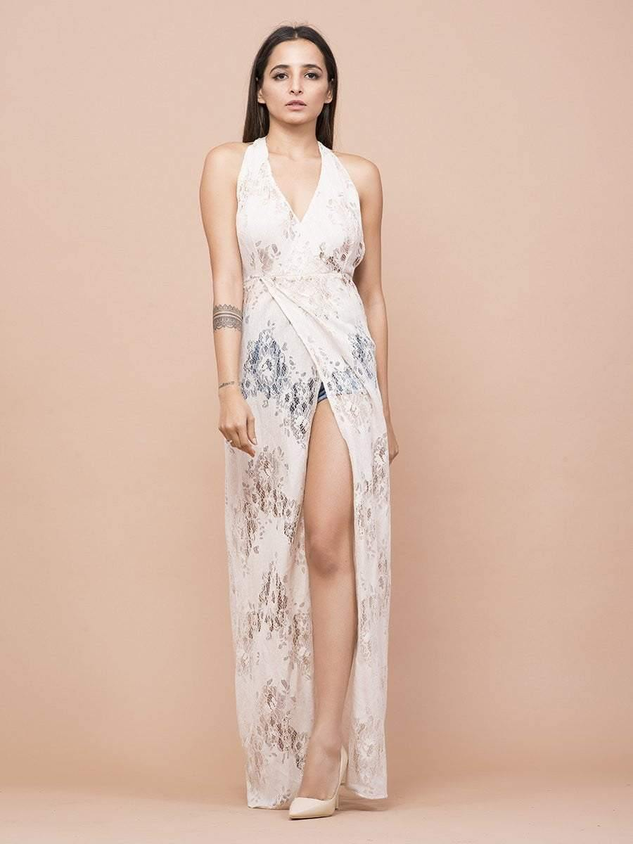 Halter Neck Lace Cover-Up Dress - zooomberg
