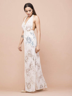 Get Halter Neck Lace Cover-Up Dress with RS. 1650.00