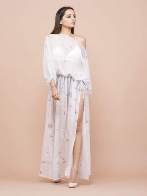 One shoulder Bishop Sleeve Cover-Up Dress