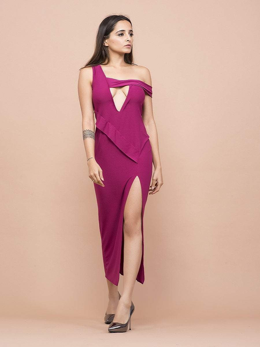 Pink High Slit Cut Out Evening Dress