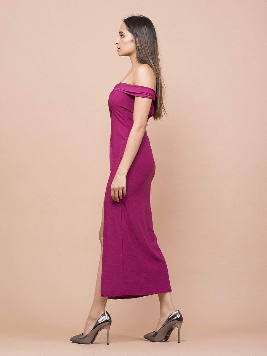 Pink High Slit Cut Out Evening Dress - Dresses - Zooomberg - Zoomberg