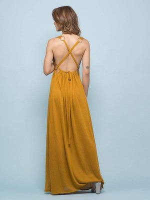 Get Marigold Buckle Maxi Dress with RS. 1390.00