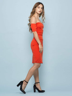 Get Tangerine Off Shoulder Bodycon Dress with RS. 1190.00
