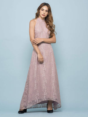 Get Dusty Pink Fit & Flare Dress with RS. 1390.00