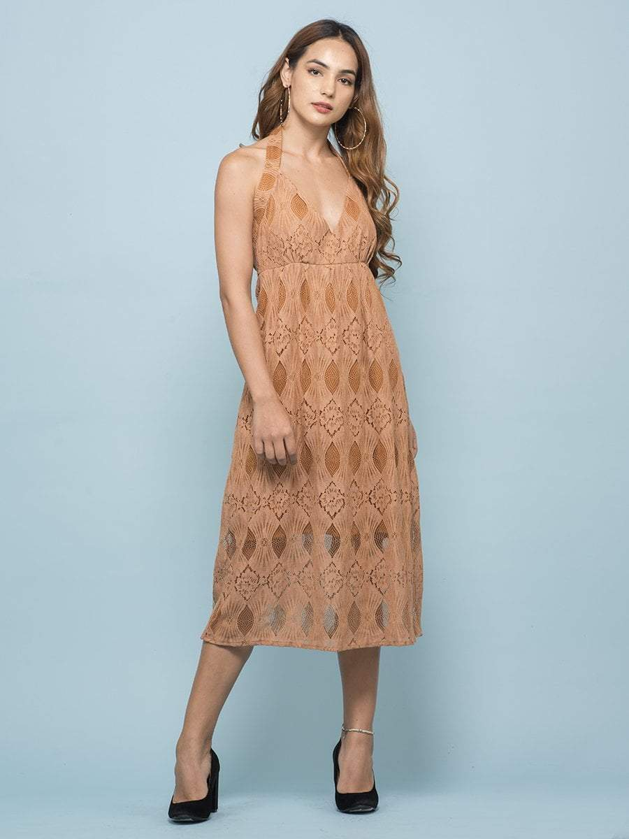 Lace Apricot Halter Dress - zooomberg