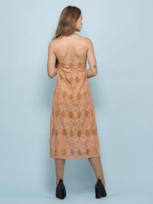 Lace Apricot Halter Dress - Dresses - Zooomberg - Zoomberg