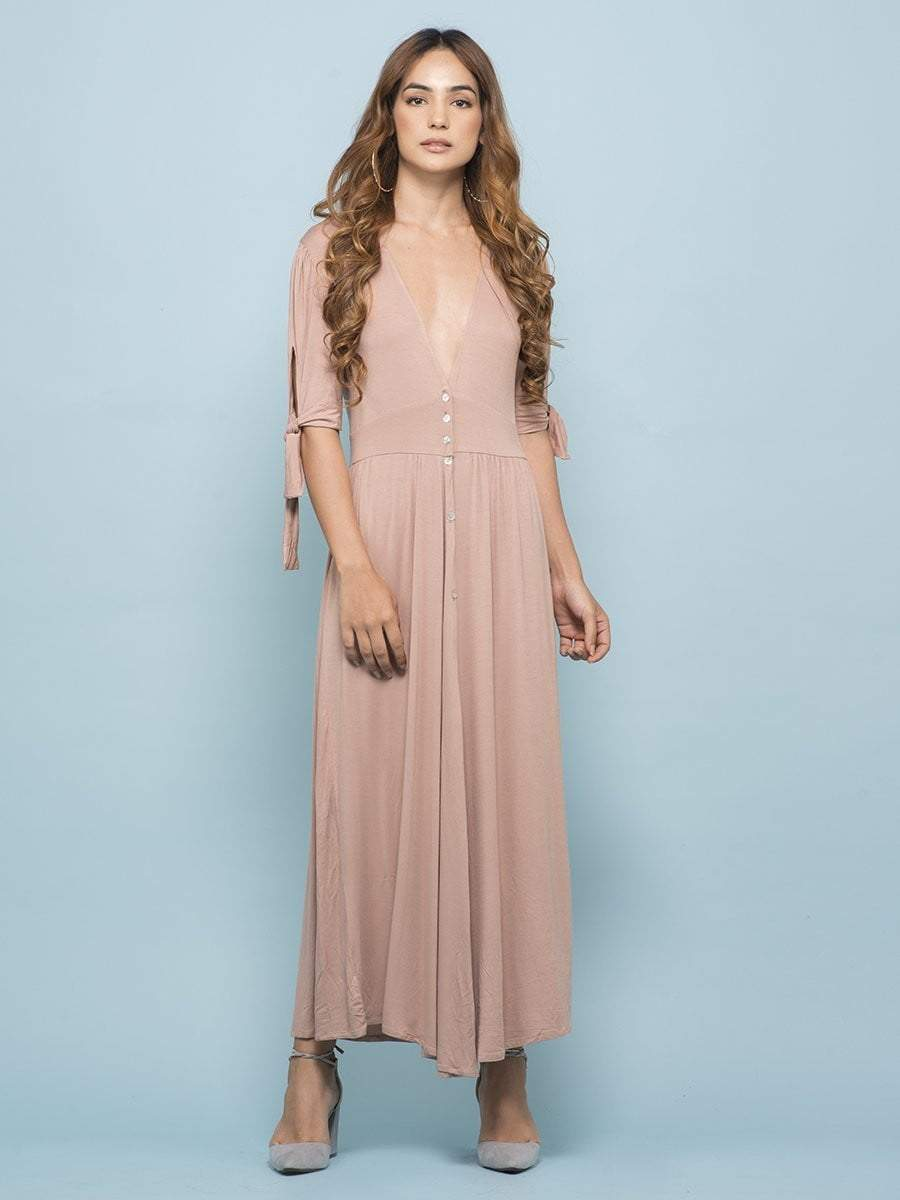 Nude Plunge Neck Button Up Dress - Dresses - Zooomberg - Zoomberg