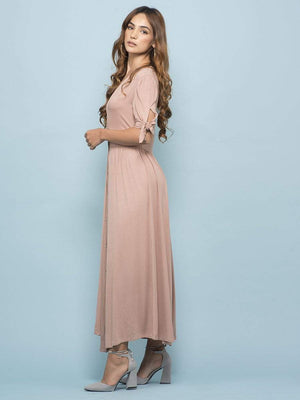 Nude Plunge Neck Button Up Dress
