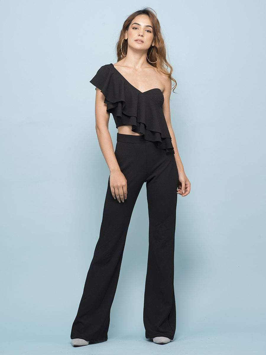Ink Black Flounce One Shoulder Crop Top & Flare Pants - Two Piece Outfits - Zooomberg - Zoomberg
