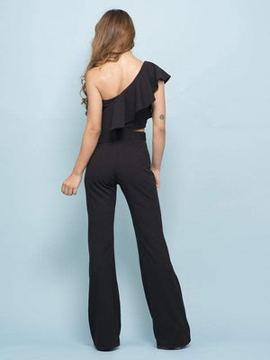 Ink Black Flounce One Shoulder Crop Top & Flare Pants