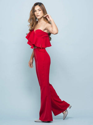 Get Candy Red Flounce One Shoulder Crop Top And Flare Pant Co-Cord with RS. 2790.00