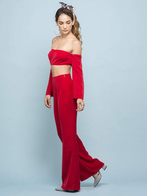 Candy Red Off Shoulder Super Crop Top - Tops - Zooomberg - Zoomberg