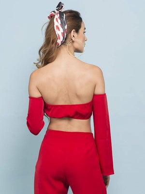 Candy Red Off Shoulder Super Crop Top