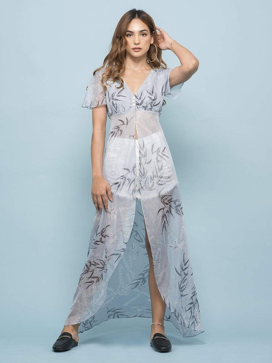 Toile Stone Blue Front Slit Top - Tops - Zooomberg - Zoomberg