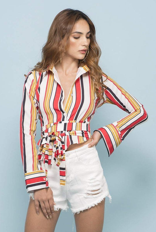 Multicolor Striped Tie Around Shirt