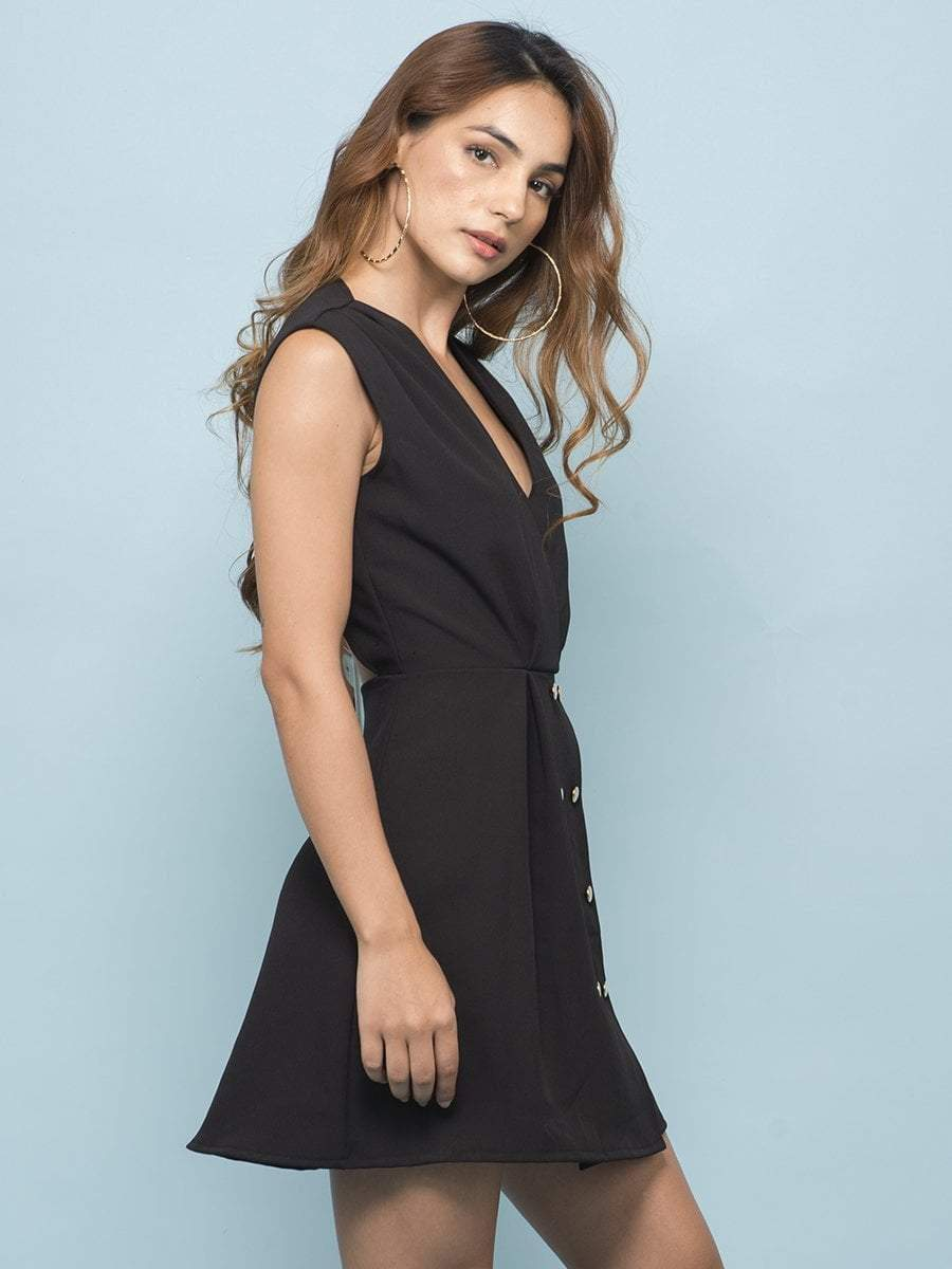 Raven Black Button Dress